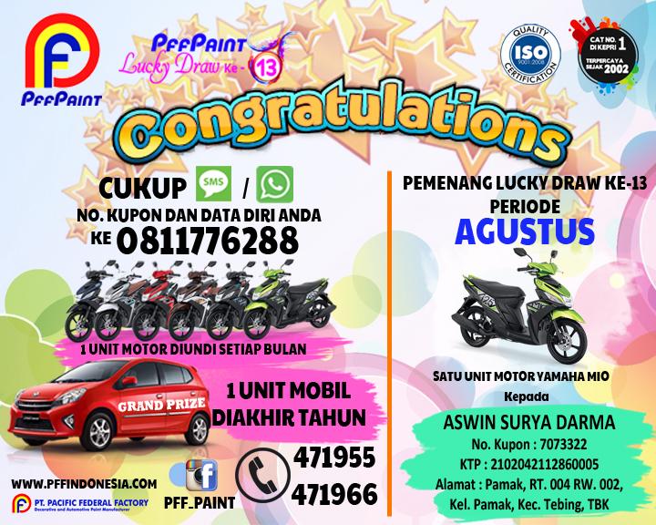 Pemenang Lucky Draw Ke-13 Periode Agustus 2017 – Bp. Aswin Surya Darma (TBK)