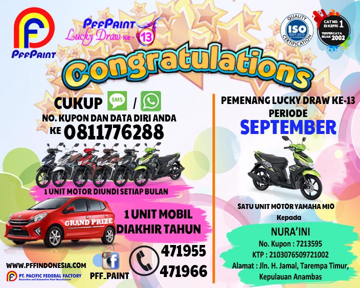 Pemenang Lucky Draw Ke-13 Periode September 2017 – Ibu Nura'ini (Tarempa)