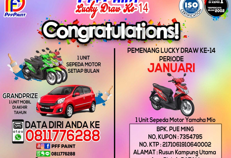 Pemenang Lucky Draw Ke-14 Periode Januari : Bp. Pue Ming (Batam)