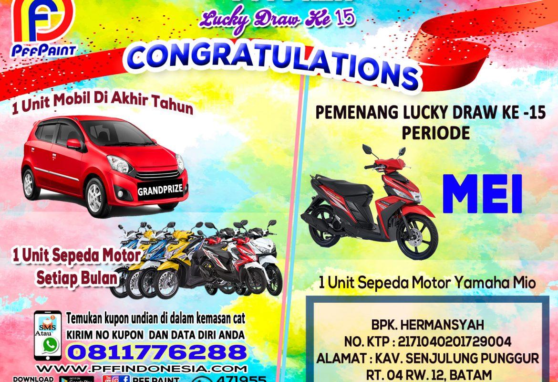 Pemenang Lucky Draw Ke-15 Periode Mei 2019 – Bpk. Hermansyah (Batam)