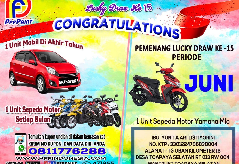 Pemenang Lucky Draw Ke-15 Periode Juni 2019 – Ibu Yunita Ari (Tanjung Uban)