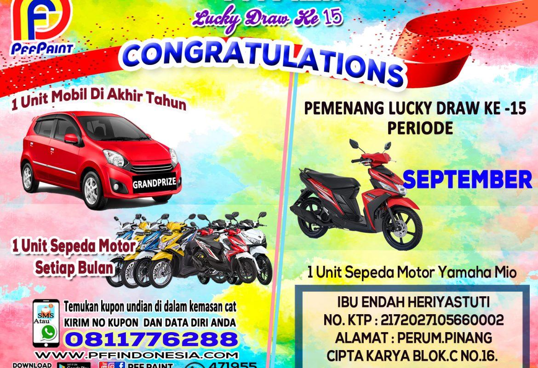Pemenang Lucky Draw Ke – 15 Periode September 2019 – Ibu Endah Heriyastuti (TPI)